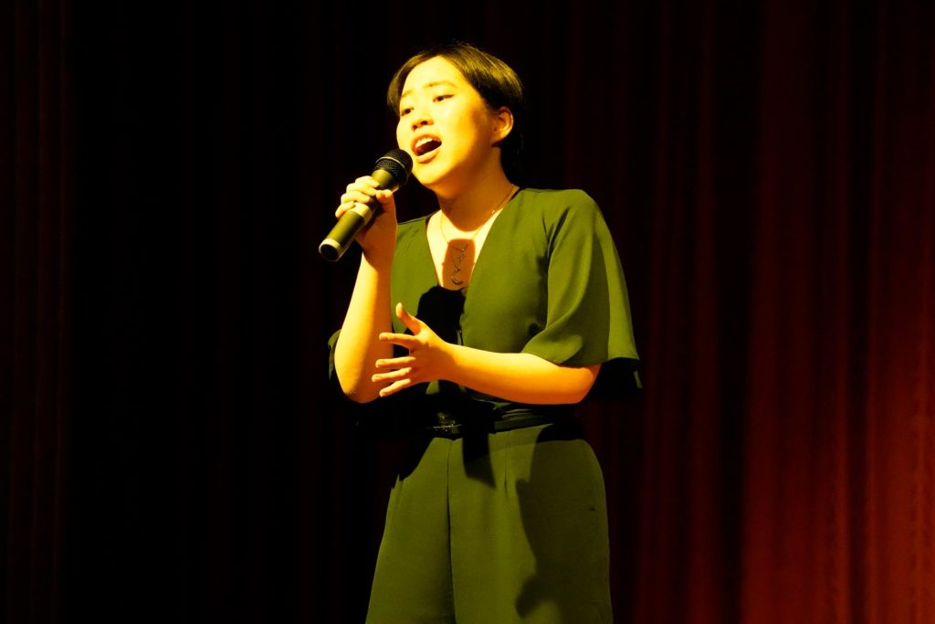 A woodford student singing at Talent Quest