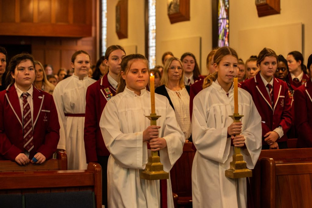 Woodford students in a mass