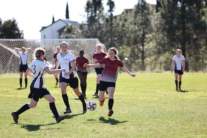 Soccer match at the Winter Quad Tournament